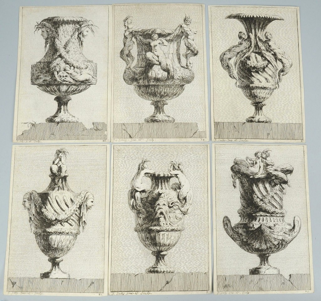 Lot 481: Six J Sally urn engravings from set of 30