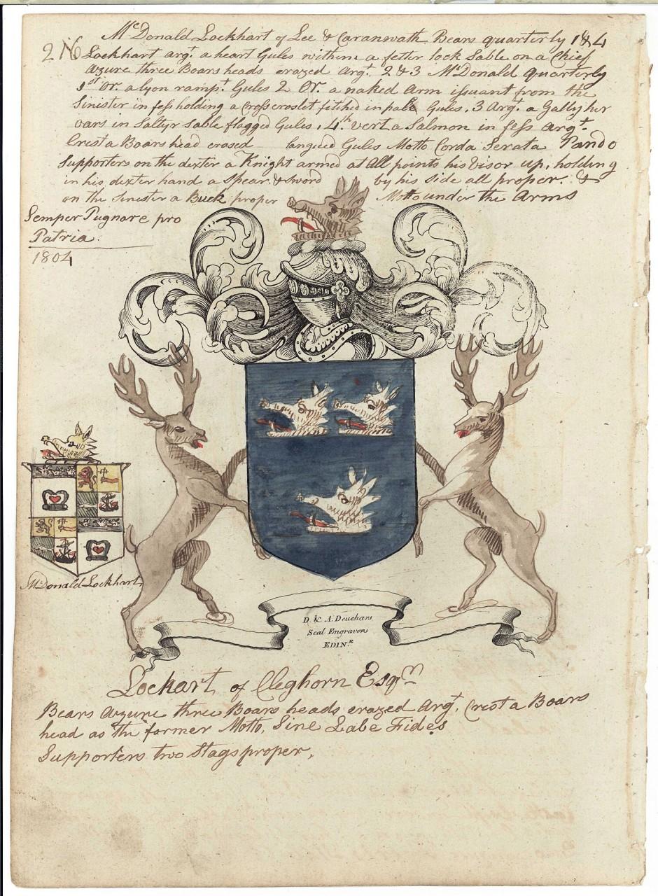 Lot 483: 18 Scottish Coat of Arms engravings, 18th c., Deuc