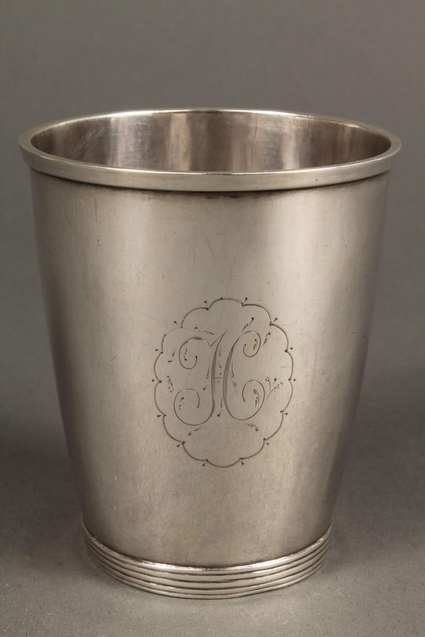 Lot 48: Virginia Coin Silver Beaker, Daniel Morgan Inscrip