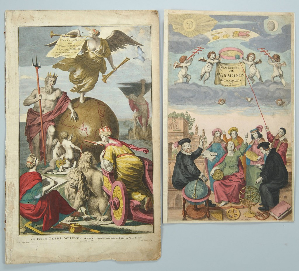 Lot 494: Two Frontis Piece Prints, Astronomy and Cartograph
