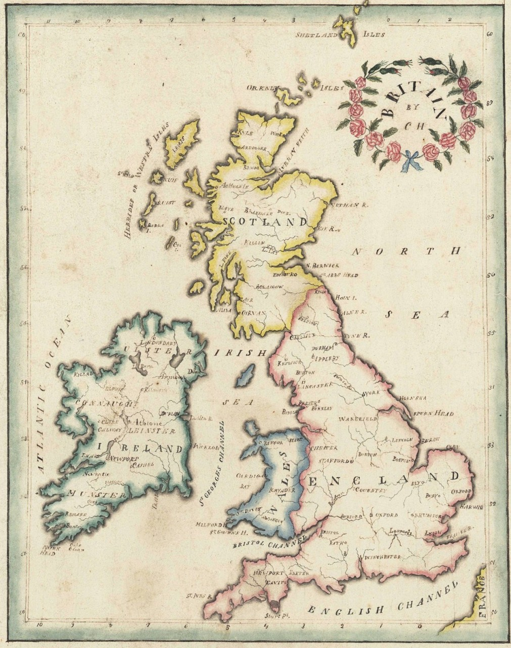 Lot 497: 19th c. Schoolgirl map of British Isles