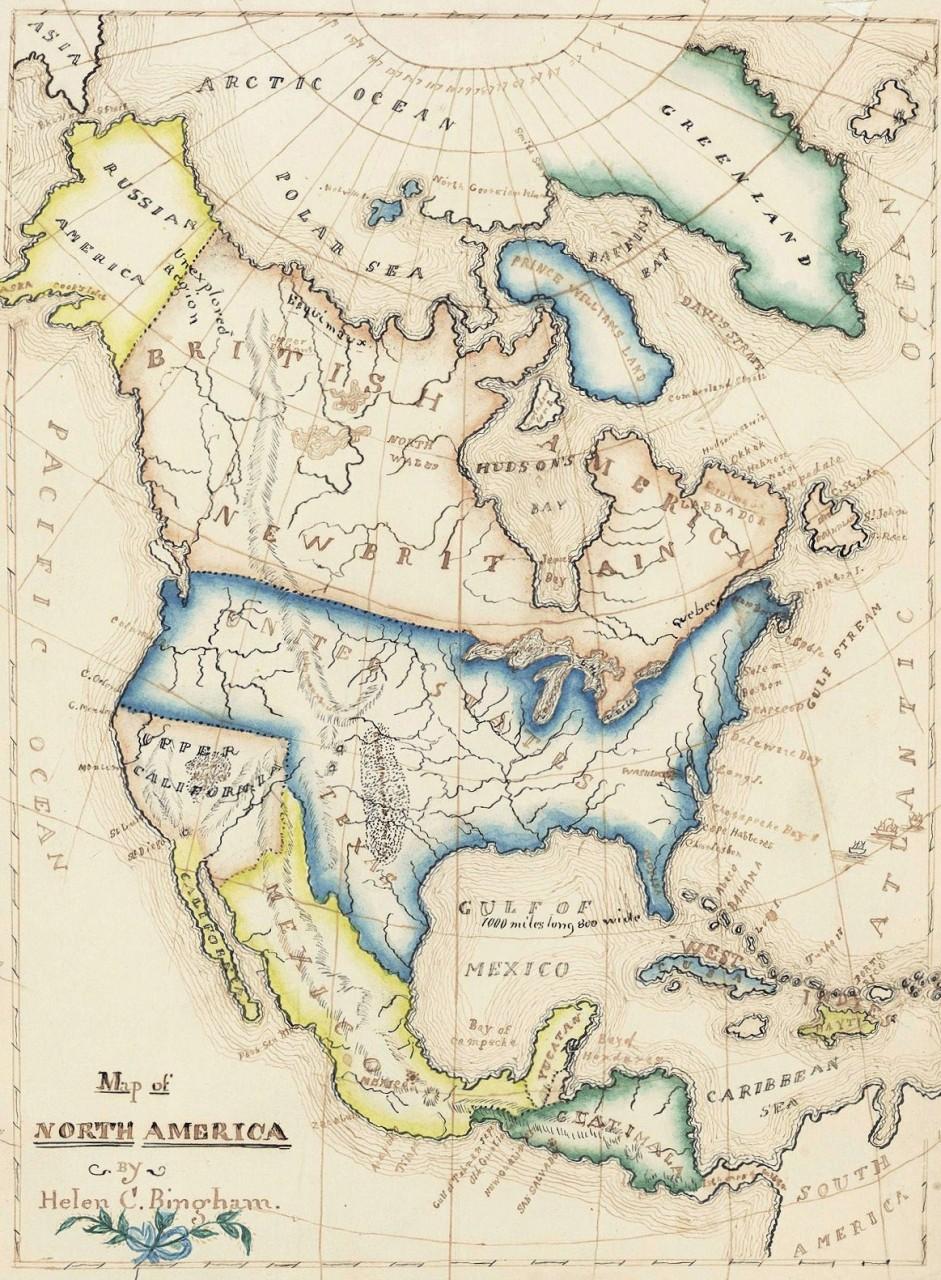 Lot 498: 19th c. Schoolgirl map of N. America