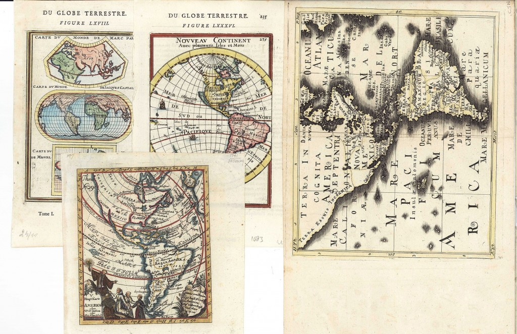 Lot 499: Four 17th-18th C. Maps: Desing, Manesson-Mallett