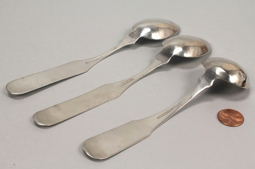 Lot 49: KY Coin Silver Spoons & ladle, Simpson & McDannold