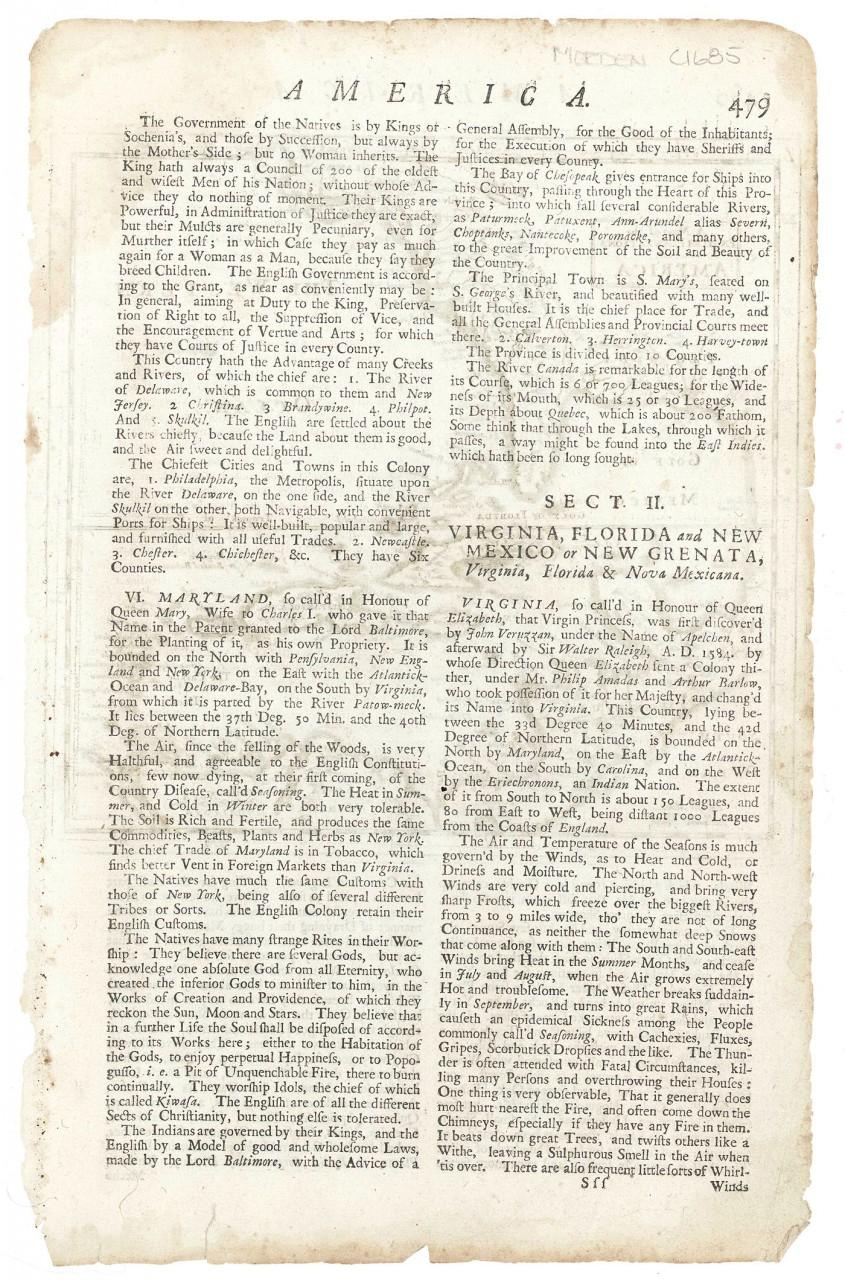 Lot 500: 2 17th-18th C Amer. Maps, H. Moll & Bellin