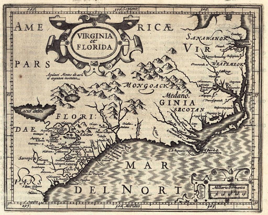 Lot 502: G. Mercator map of Virginia and Florida