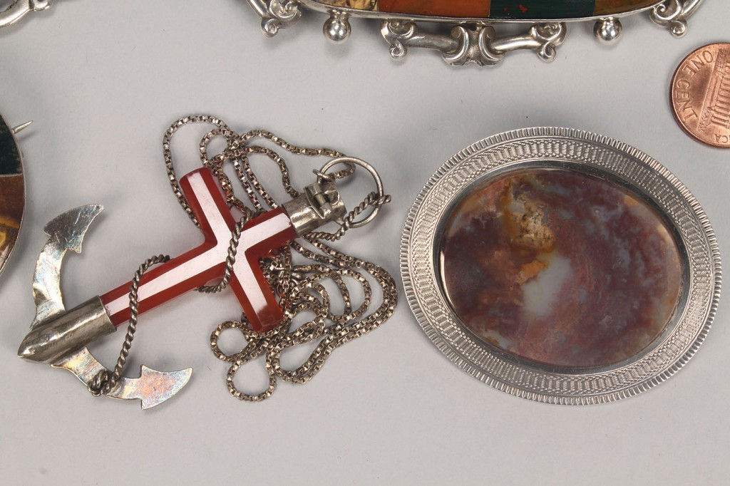 Lot 505: Group of Scottish style agate and silver jewelry