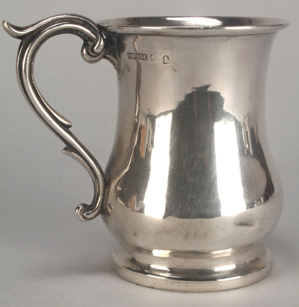 Lot 50: Coin silver cup, marked Savage