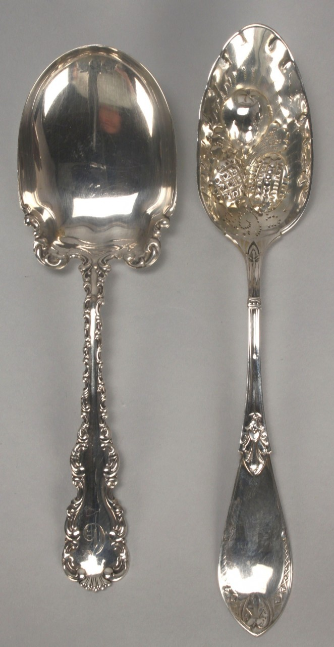 Lot 511: Sterling serving pcs: Repousse, Durgin Ladle & mor