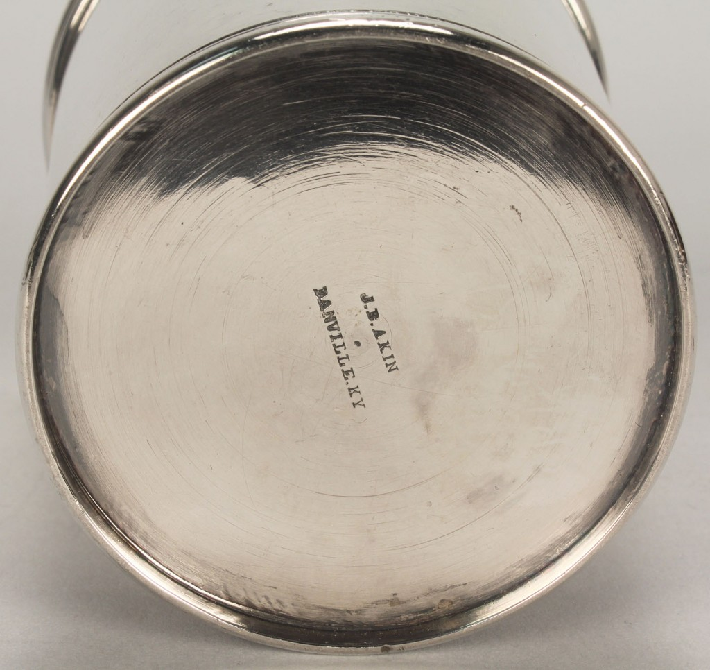 Lot 51: KY coin silver julep cup, Akin