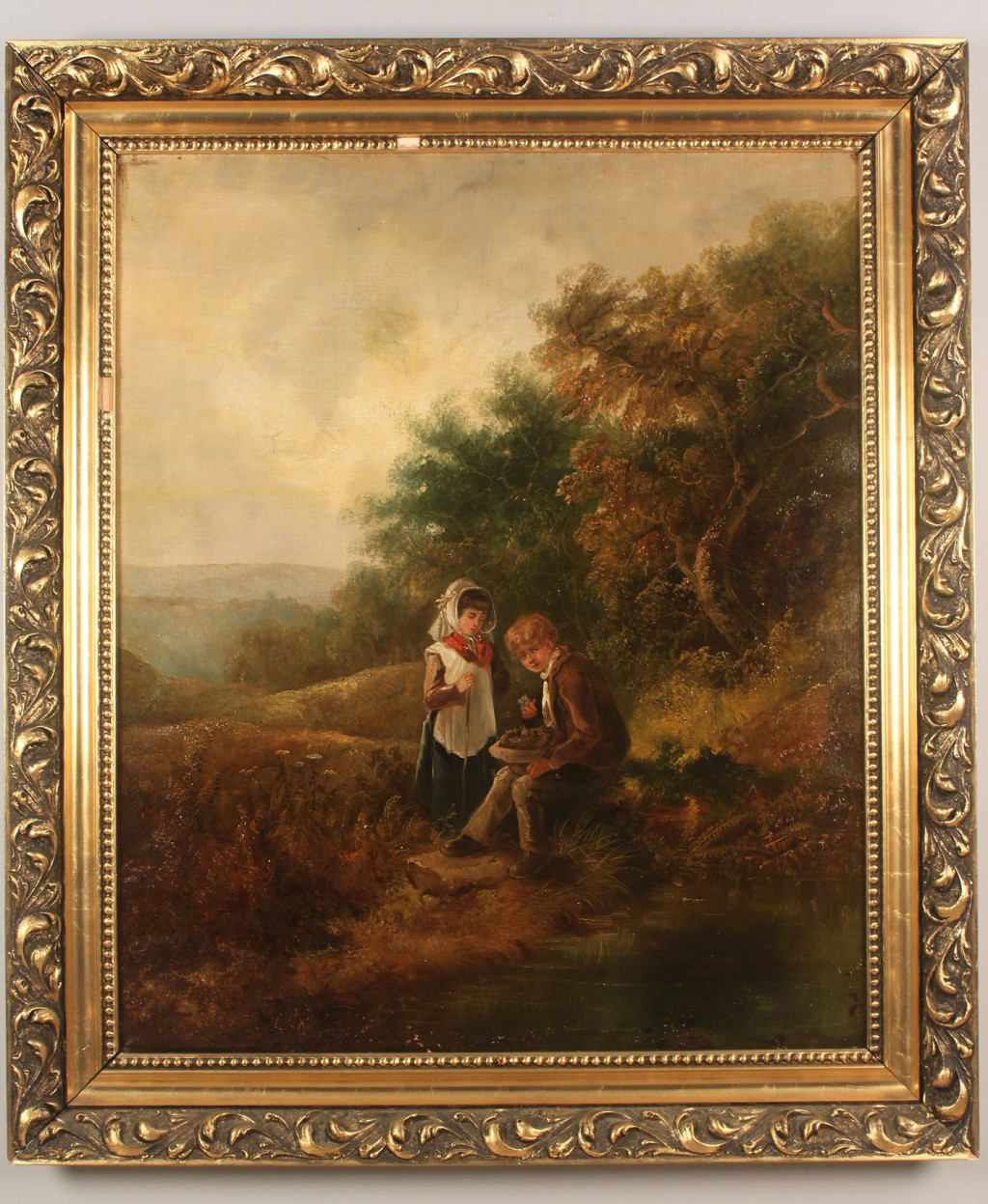 Lot 522: British School, oil on canvas, children with hat o