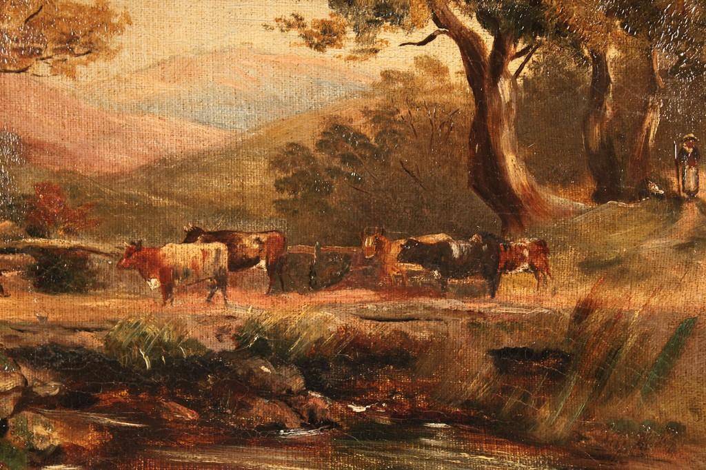 Lot 524: J. Spencer oil on canvas landscape, North Wales
