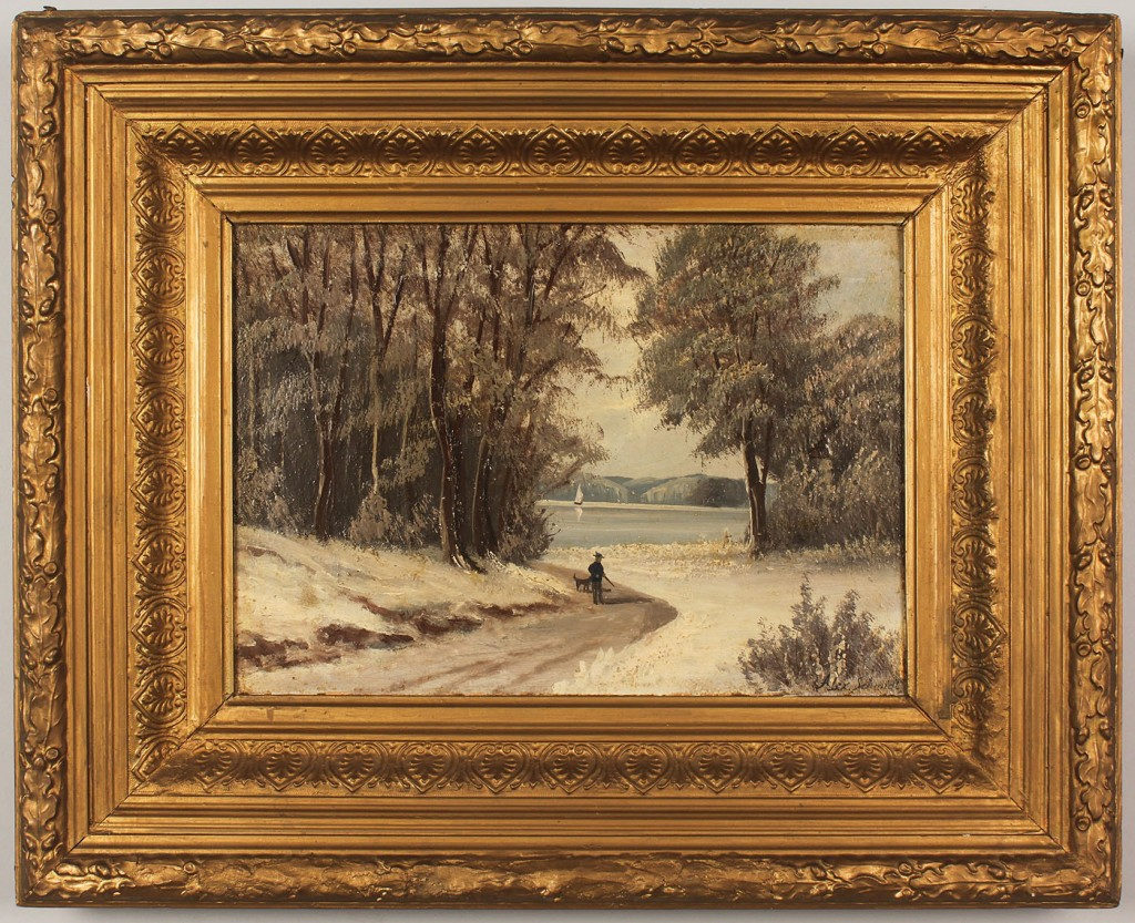 Lot 525: Alexander Schmidt oil on board, winter landscape