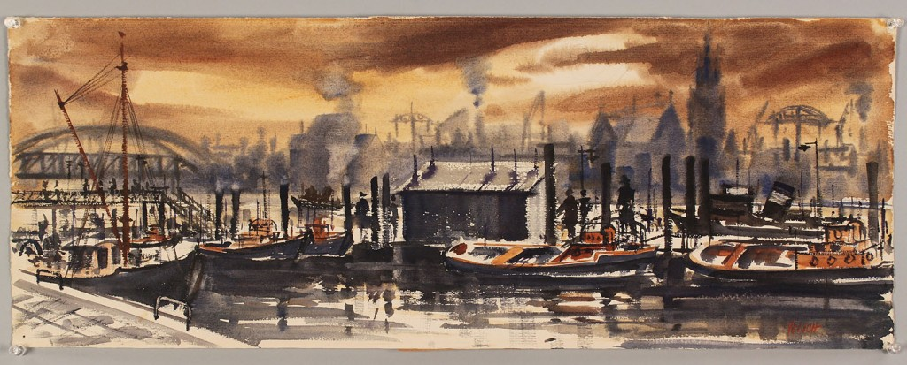Lot 526: George Yelich Watercolor