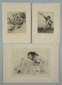 Lot 527: 3 Wilhelm Kuhnert lion prints