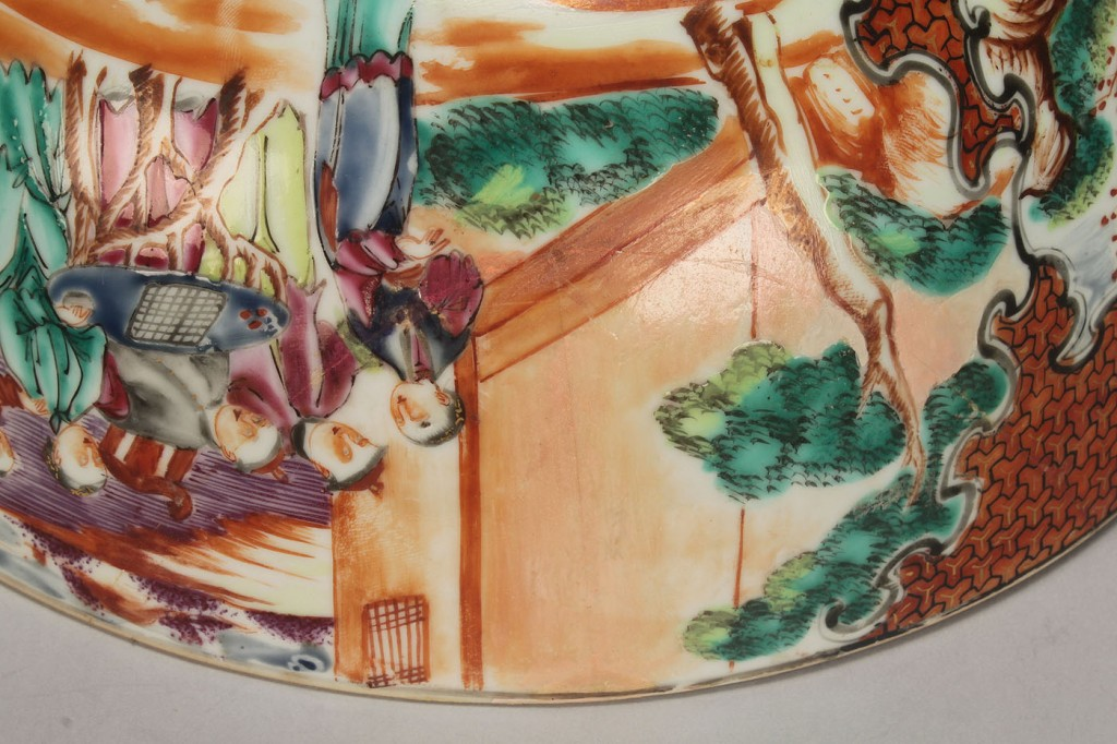 Lot 530: 2 Chinese export Famille Rose punch bowls