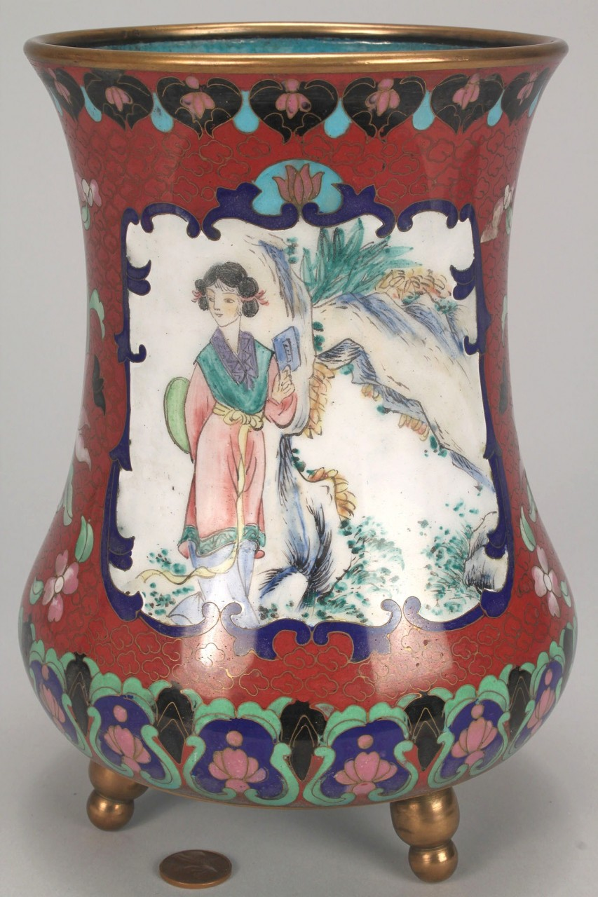 Lot 531: Chinese Cloisonne Footed Vase w/ 2 Vignettes