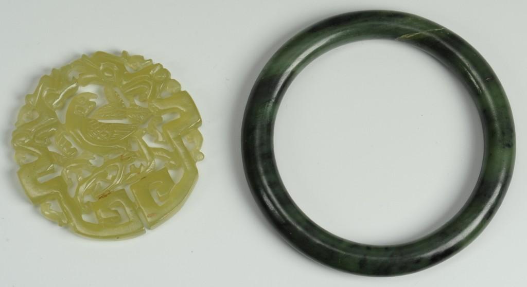 Lot 536: 2 pcs. Chinese Jade: Bi disc and bracelet