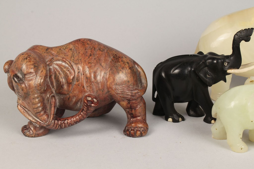 Lot 545: Grouping of 8 Chinese Carved Elephants
