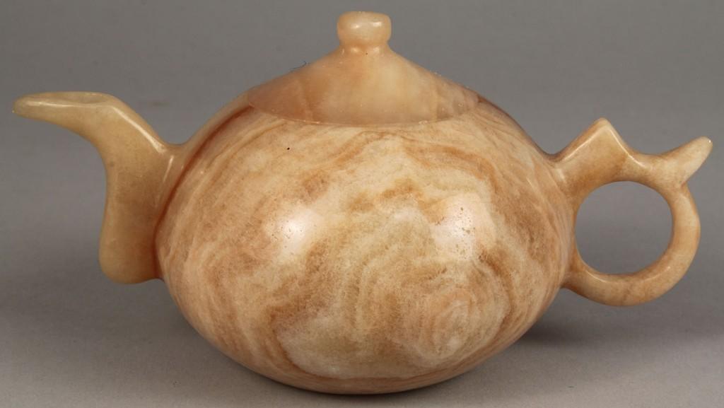 Lot 546: Chinese Miniature Hardstone Tea Set, 7 pieces