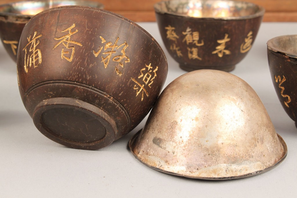 Lot 553: 10 Chinese Wooden Wine Cups