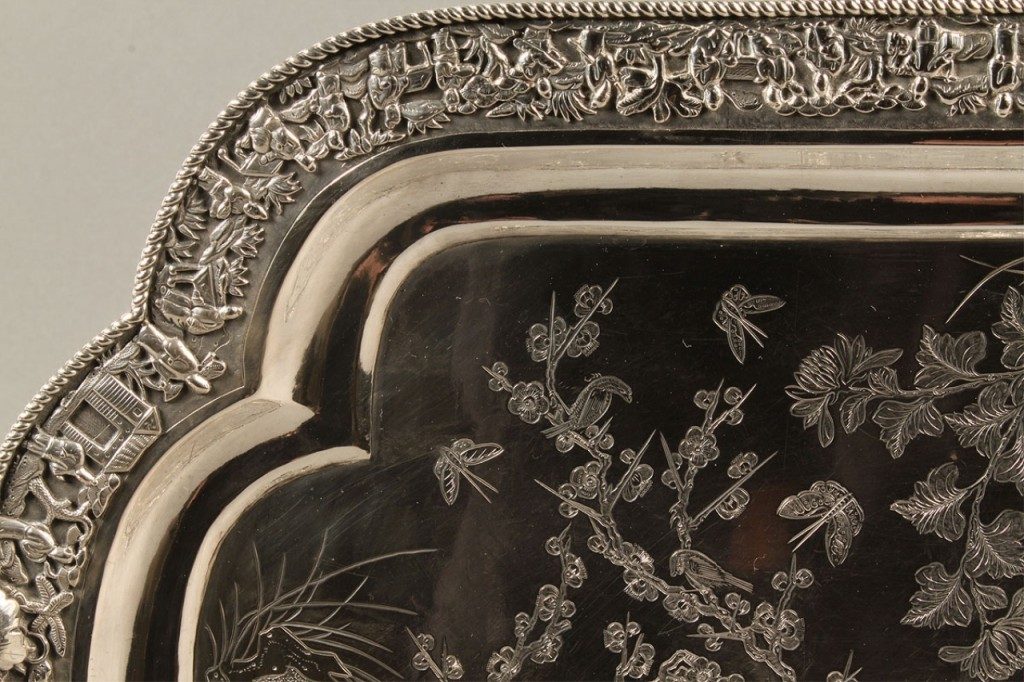 Lot 555: Chinese Export Silver Presentation Tray