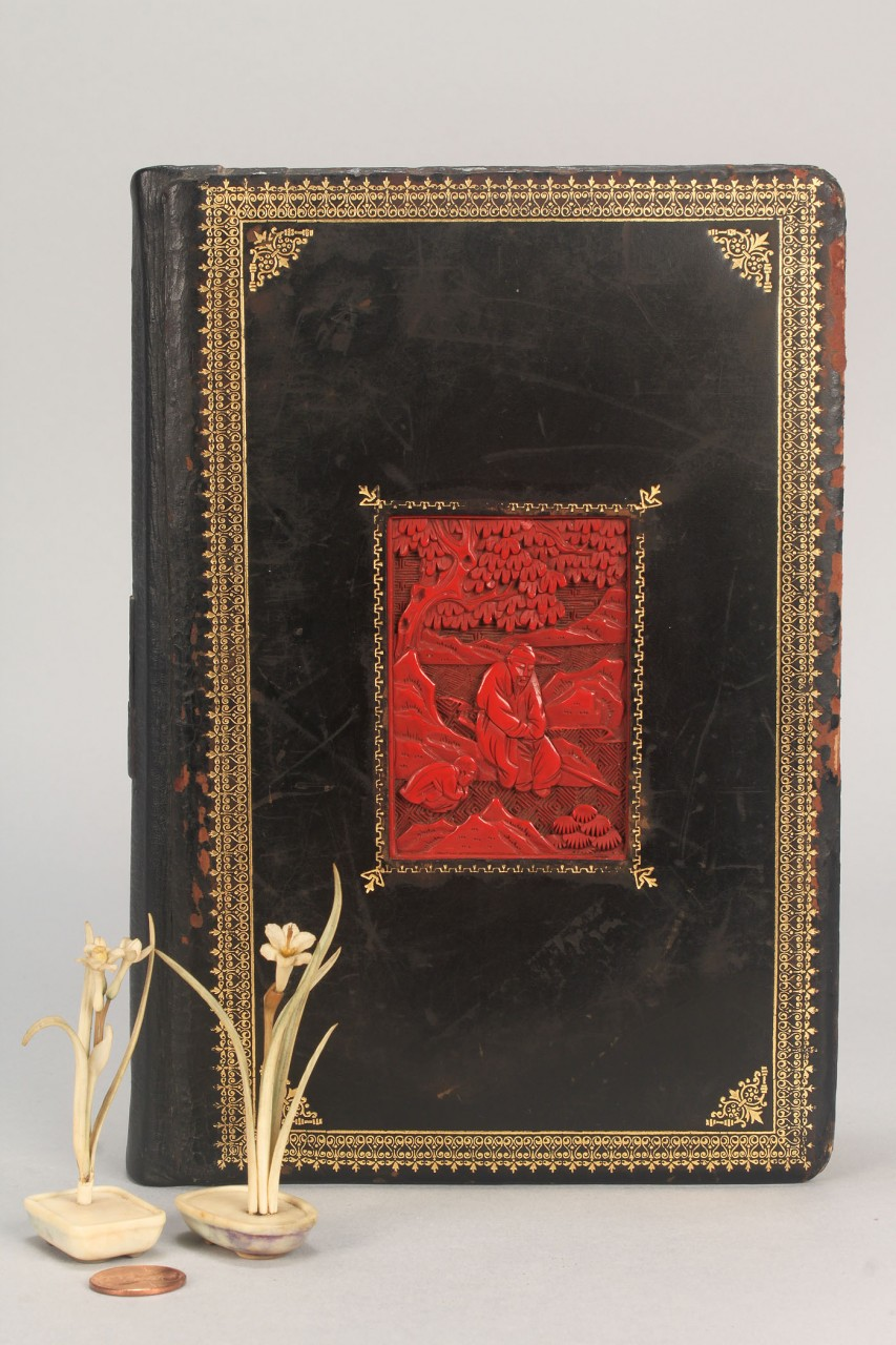 Lot 556: Chinese Cinnabar Panel book insets & 2 Ivory flowe