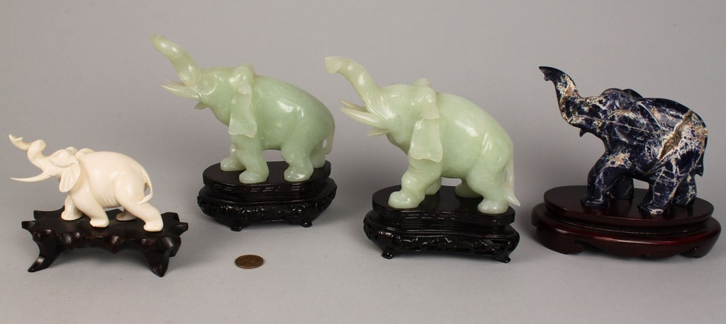 Lot 559: Grouping of 4 Chinese Carved Elephants