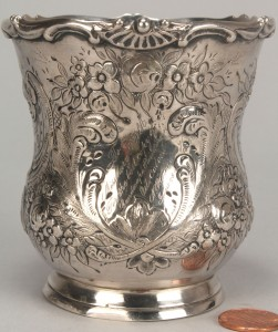 Lot 55: Coin silver cup, Nash. Female Academy to Mary Polk