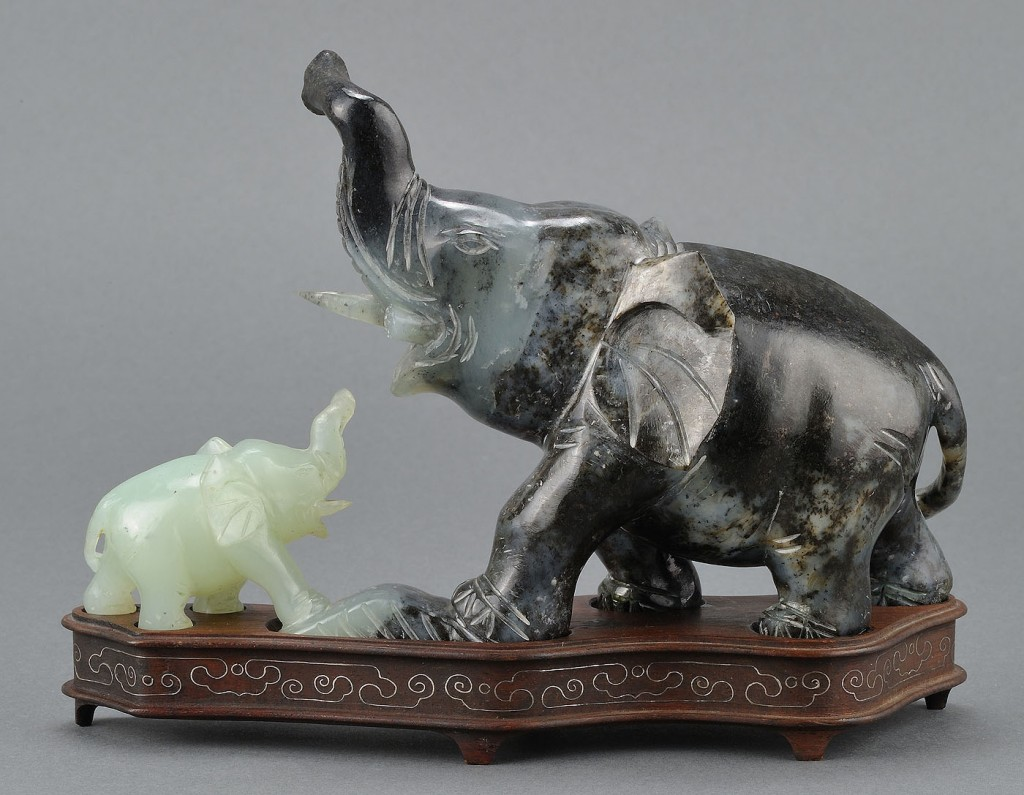 Lot 560: Chinese Carved Jade Figure of Elephants