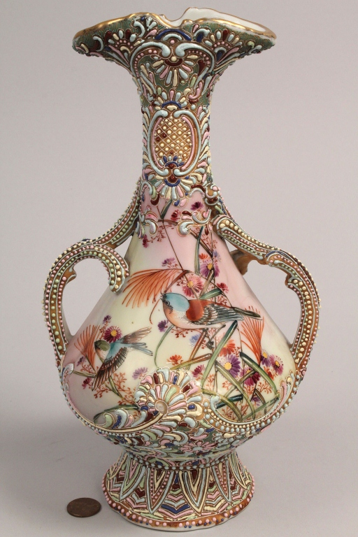 Lot 562: Nippon Moriage Double Handled Vase