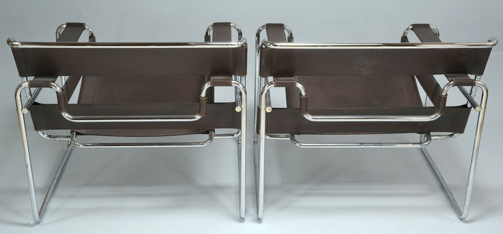 Lot 565: Pair of Marcel Breuer-inspired Wassily chairs