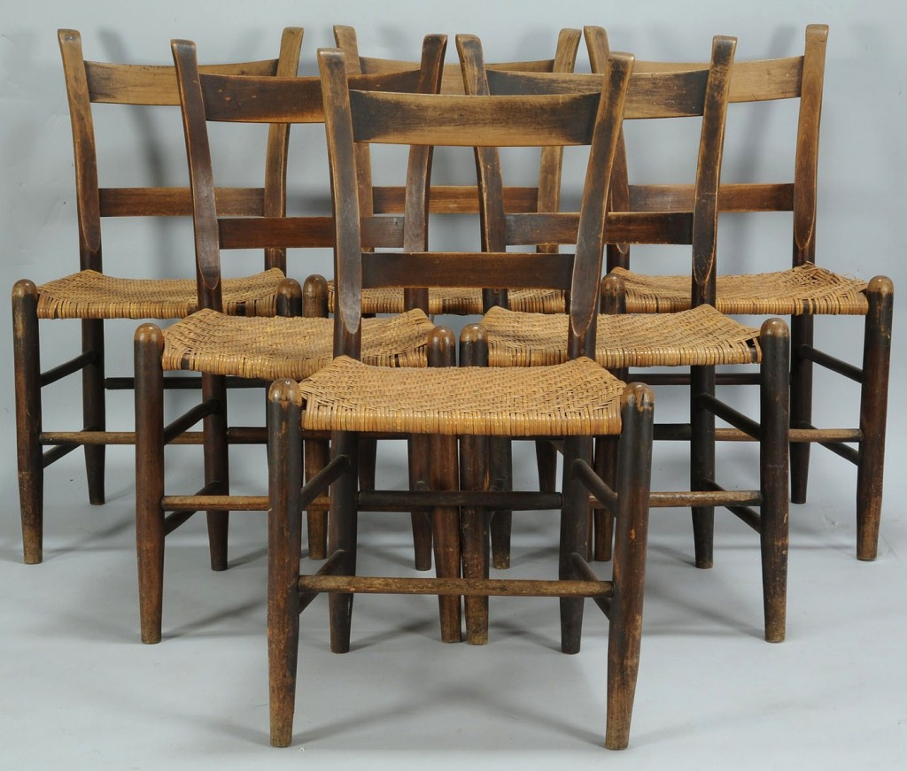 Lot 571: Set of 6 Middle Tennessee Mule Chairs