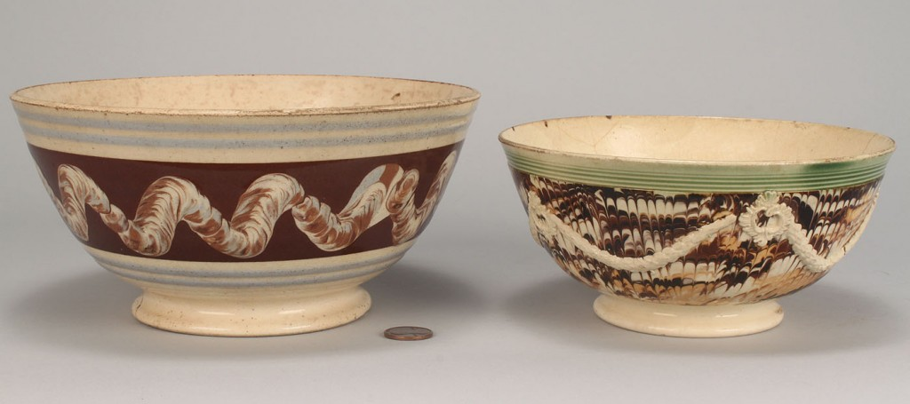 Lot 573: Two Mocha Ware Bowls and One Mug, all 19th c.