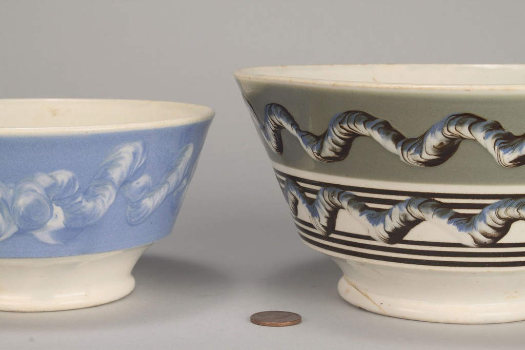 Lot 574: Two Mocha Ware Bowls with earthworm design, 19th c