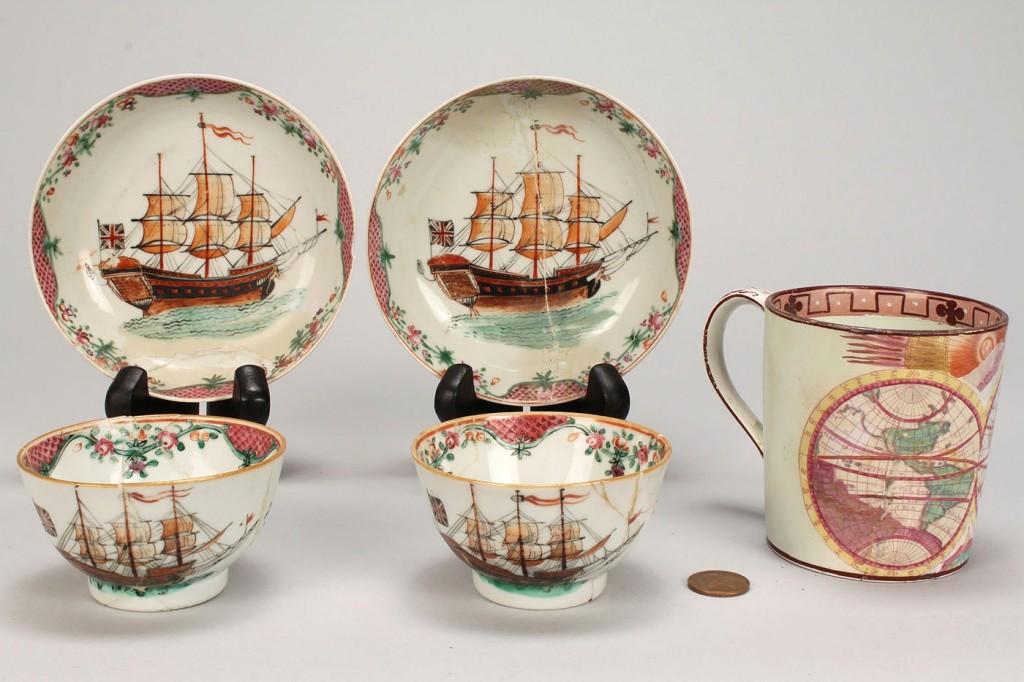 Lot 577: Pair tea bowls with ship decoration and map mug