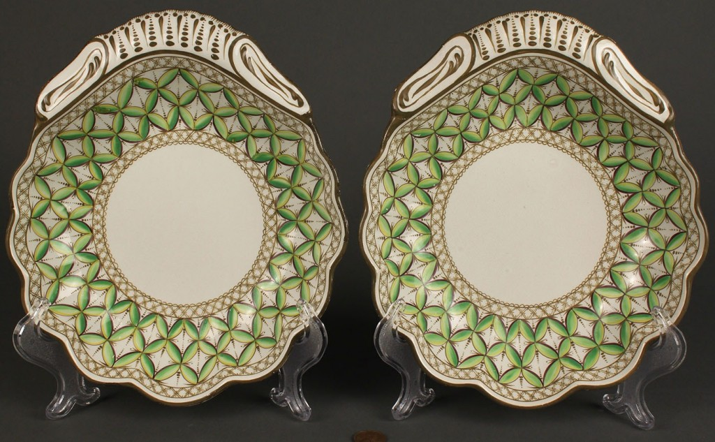Lot 578: Pair of Spode creamware dessert dishes