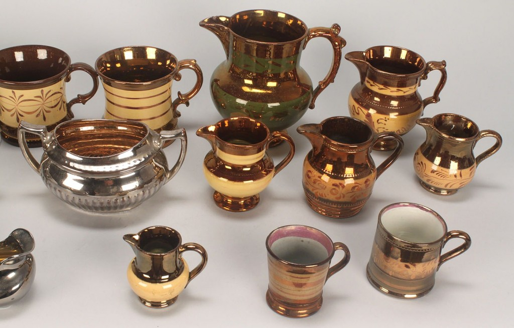 Lot 579: Assorted Grouping of English Copper Luster, 18 pcs