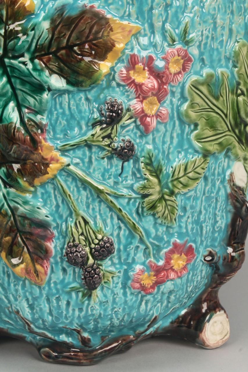 Lot 582: Pair George Jones Style Majolica Jardinieres