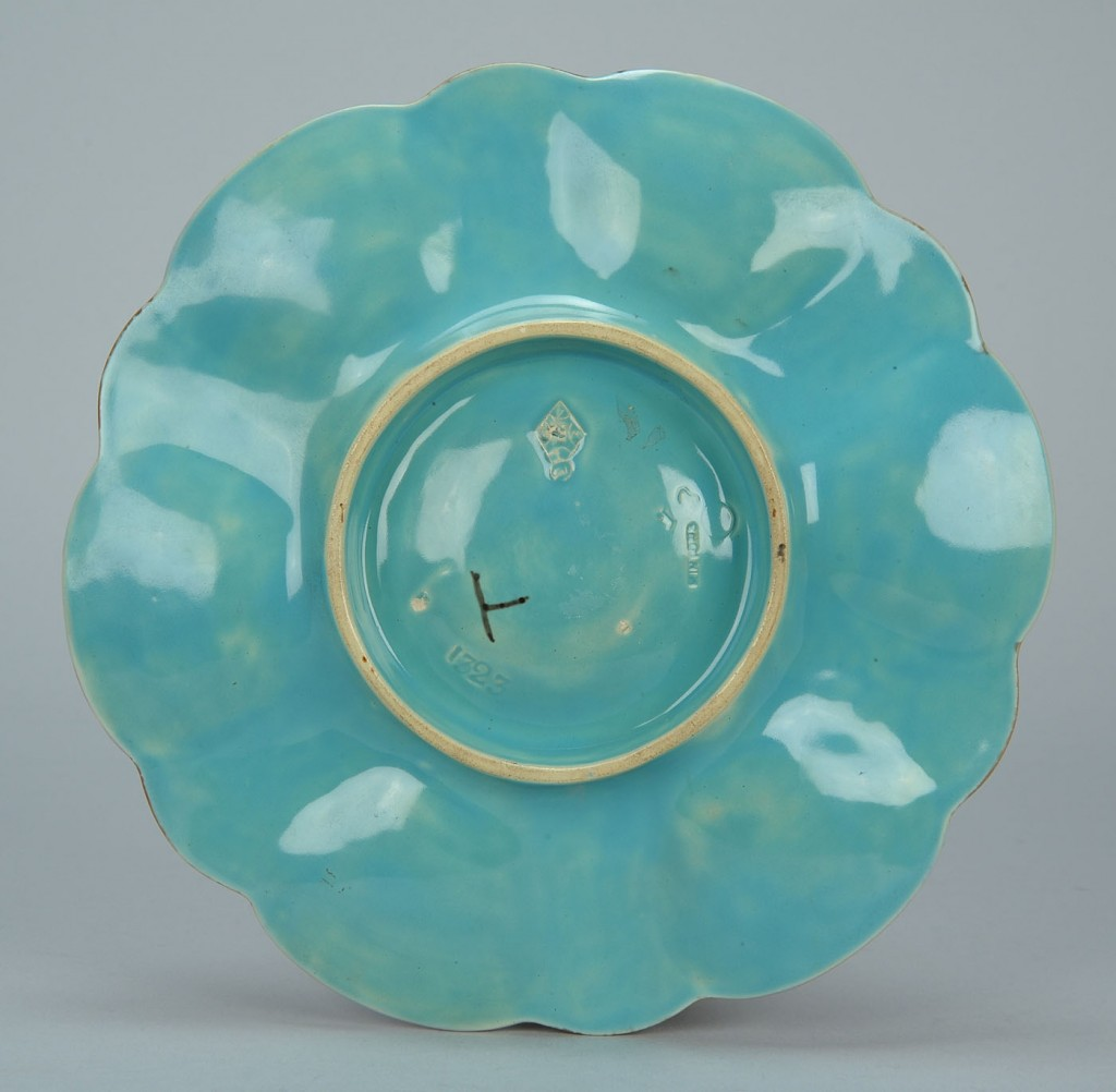 Lot 583: Minton pink Majolica oyster plate