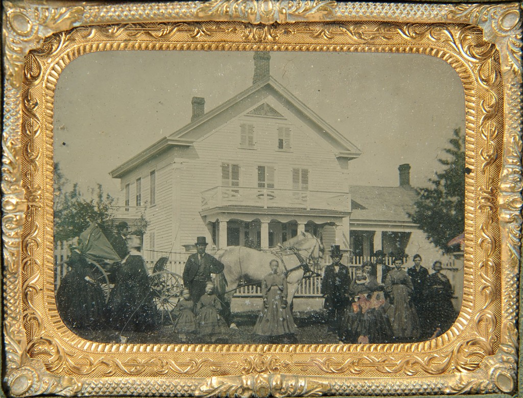 Lot 585: Tintype of 19th c. house and carriage