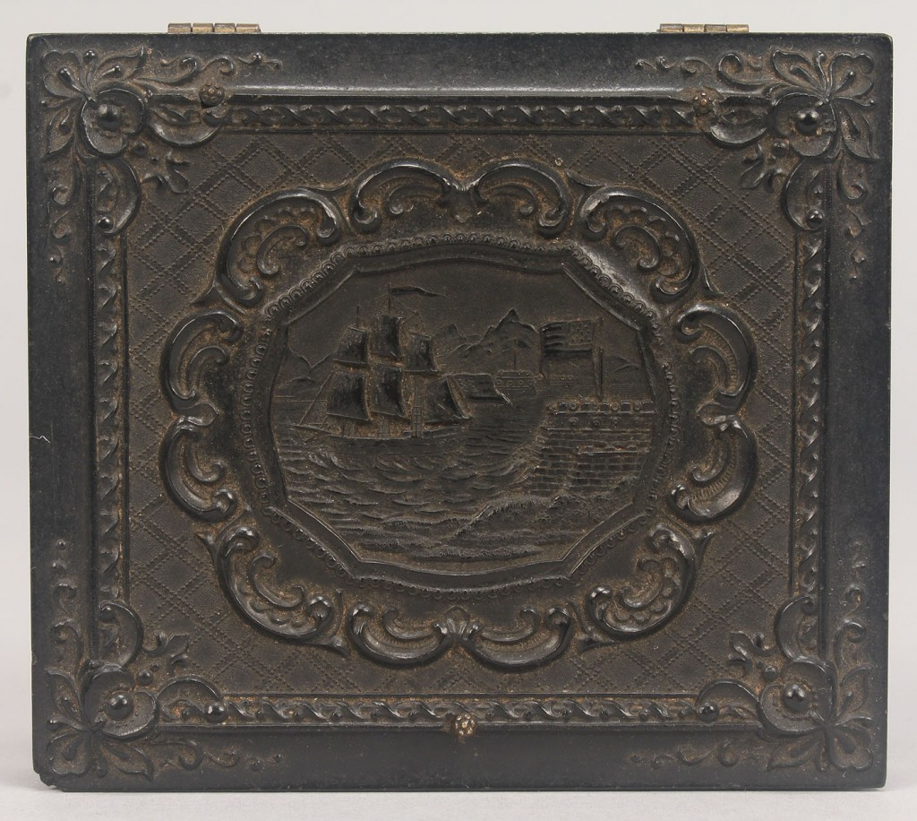 Lot 586: Union Patriotic Gutta Percha Case w/ Tintype, Ship