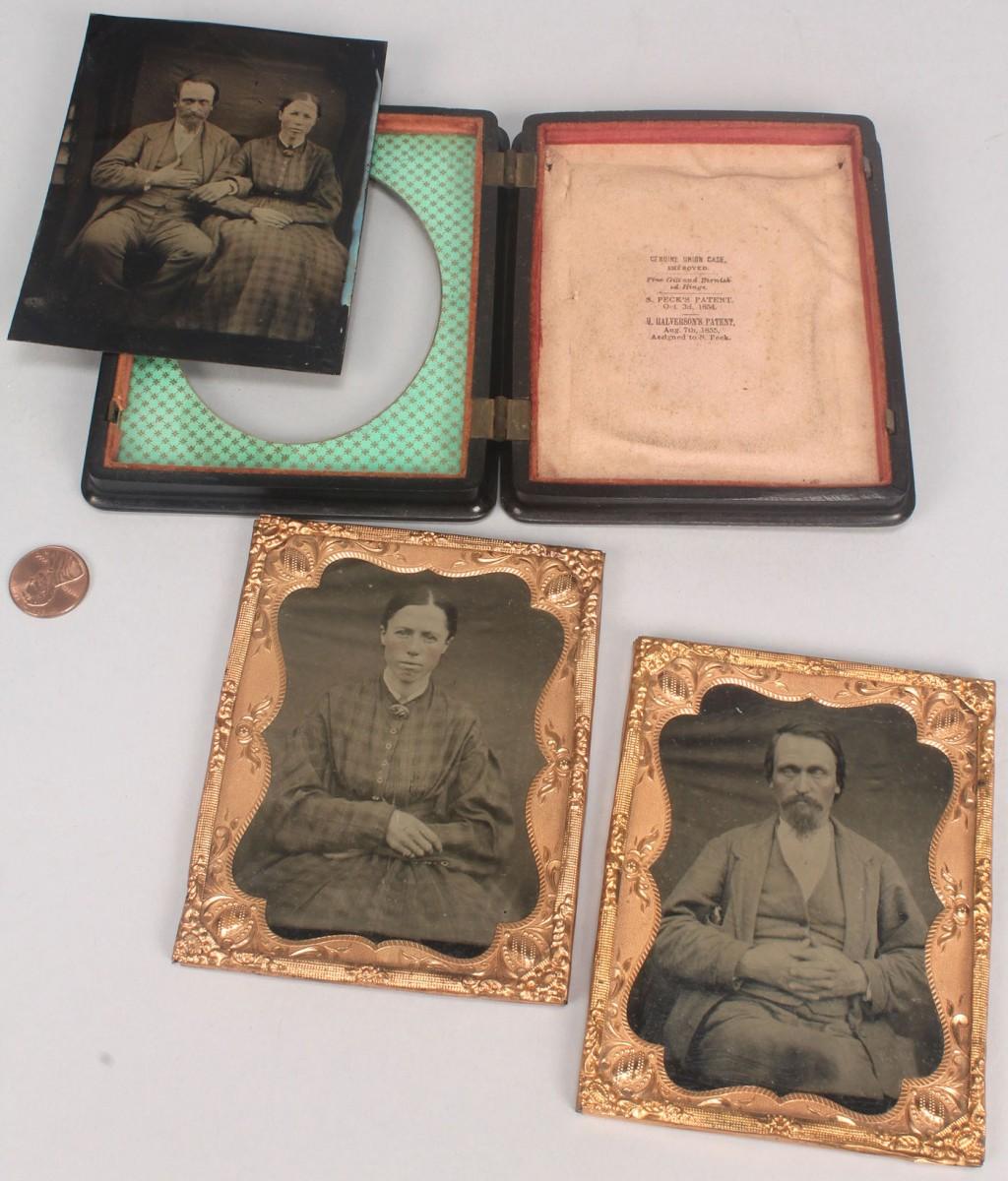 Lot 587: North Carolina tintypes, Union Gutta Percha Case