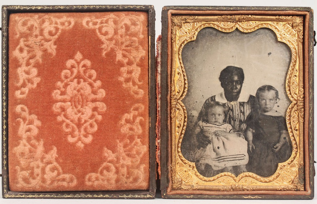 Lot 588: Cased Tintype of African American Mammy & Children