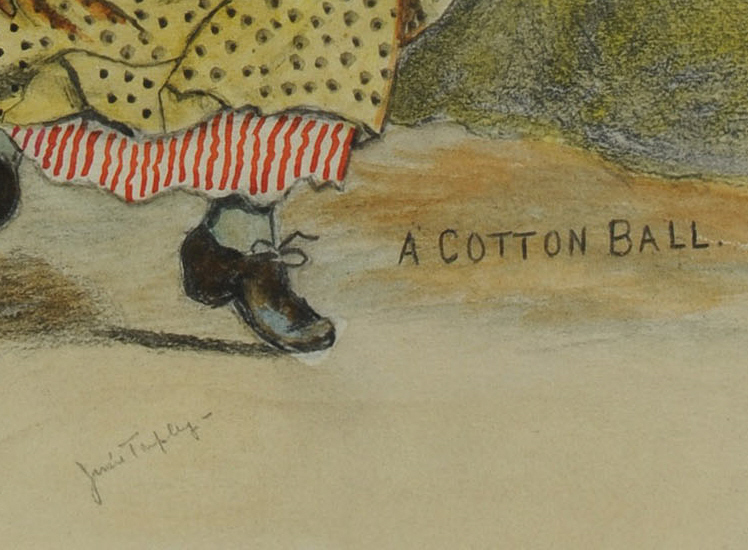"""Lot 592: African American watercolor, """"Cotton Ball"""""""