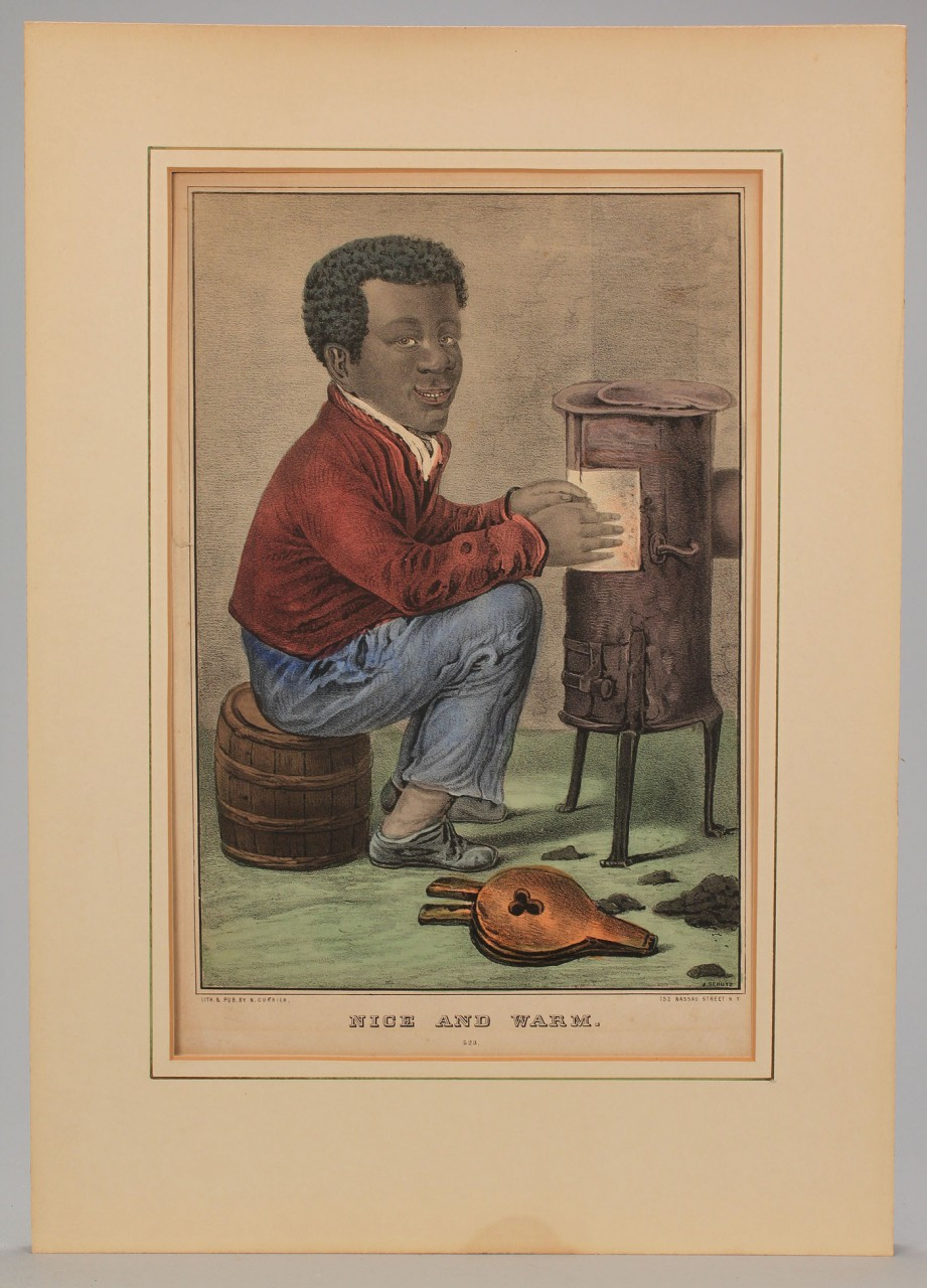 "Lot 593: Currier Lithograph titled ""Nice and Warm"""