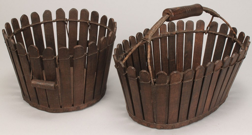 Lot 596: 2 Shaker slatted baskets, Oval and Round