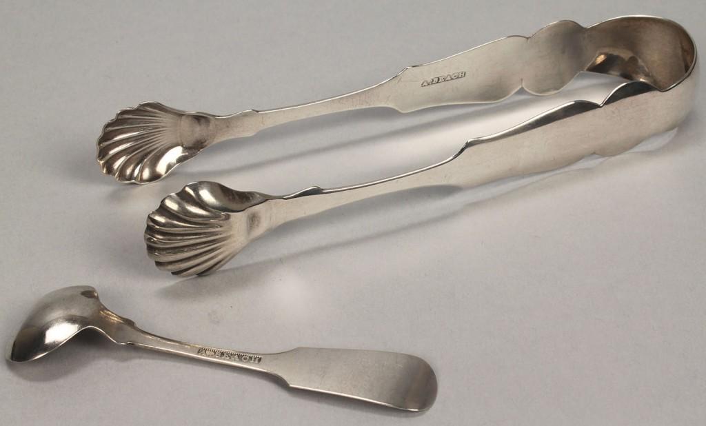 Lot 59: Beach TN coin silver tongs & ladle