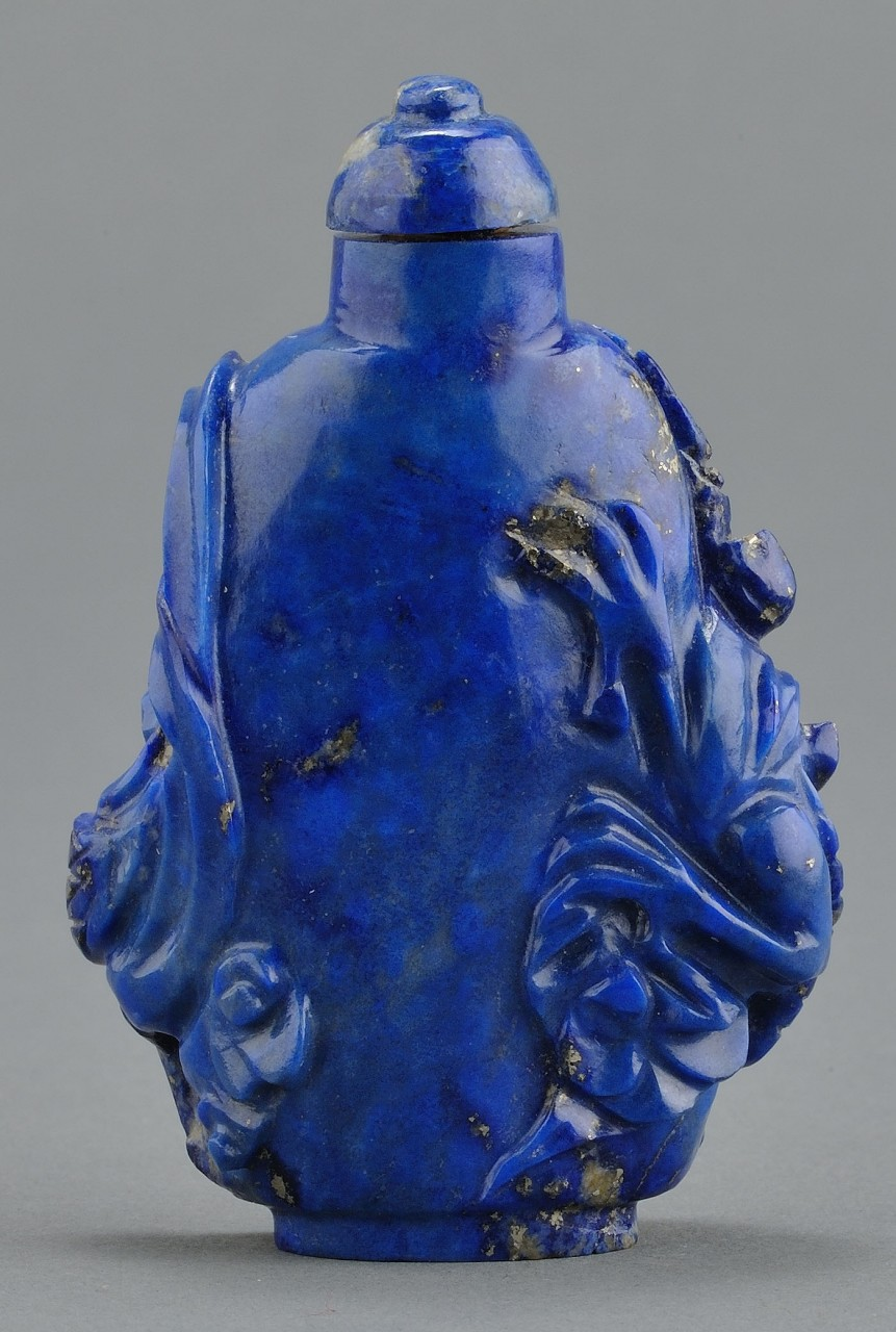 Lot 5: Chinese Carved Lapis Snuff Bottle