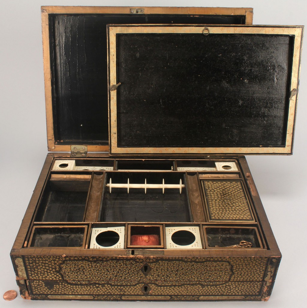 Lot 607: Lacquered sewing box with ivory fitted interior